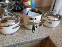 Wesco milk pan and 2x sauce pan cream
