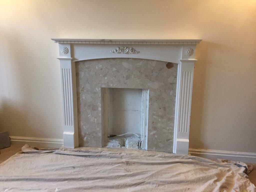 Fire And Fire Surround Fireplace Gas Coal Effect Marble Back Panel In