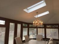 Upvc oak effect used/ pre owned Conservatory with equinox tiled roof.