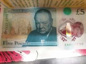 Aa01 polymer 5 pound note