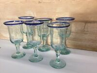 Hand blown recycled long stem glasses with blue rim