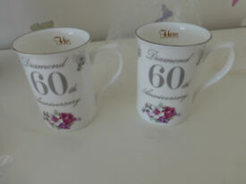 Diamond 60th Wedding Anniversary Bone China Mugs Gift