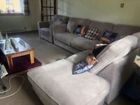 2year old corner suite with very large footstool needs gone due to house move