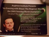 Shaun Murphy charity snooker night 17 March 2018 in aid of Jamie Carragher 23 Foundation
