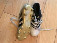 White and gold Adidas 16.3 football boots with sock