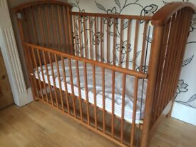 DROP SIDE PINE COT WITH MATTRESS