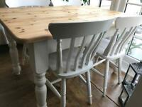 Farmhouse dining table and chairs Laura Ashley painted