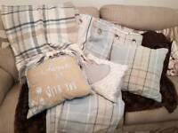 Next Blue check curtains cushions throw