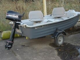 2 Man fishing boat and trailer
