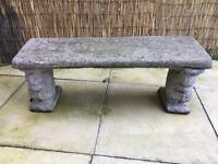 Stone squirrel bench
