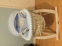 White Moses basket complete with rocking stand