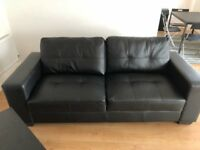 *** 2 X 3 SEATER BLACK LEATHER SOFA GOOD CONDITION ***