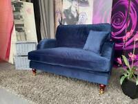 New Payton Navy Blue Velvet Loveseat Cuddle Sofa