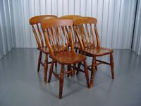 Slat Back Farmhouse Wooden Kitchen Chairs Antique Furniture