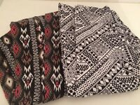 Two pairs of Hollister size small patterned leggings