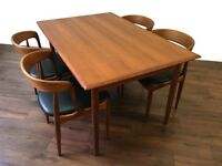 Danish Teak Extendable Dining Table - Retro Vintage Mid Century Modern Design