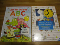 2 GERMAN educational board books, 4+years – 2 Deutsche Kinderbücher, ABC und Uhr