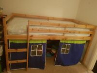 Bed with storage space under it. My little boy used it had a den. The bed is a years old.