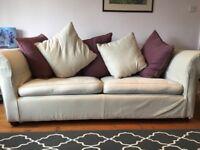Large cream sofa