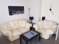 2X BEIGE REAL LEATHER SOFAS 2 + 1