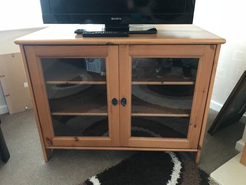 Ikea Solid Wood Tv Cabinet With Gl Doors In Long Eaton Nottinghamshire Gumtree
