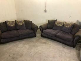 Brown dfs 3 seaters x 2 sofas, couches, furniture 🚛🚚