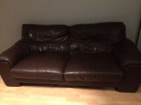 Dfs real brown leather 3 seater sofa and armchair