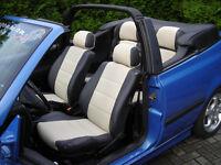 Golf mk3 cabriolet artificial leather seat covers in black, black/beige, black/grey or beige