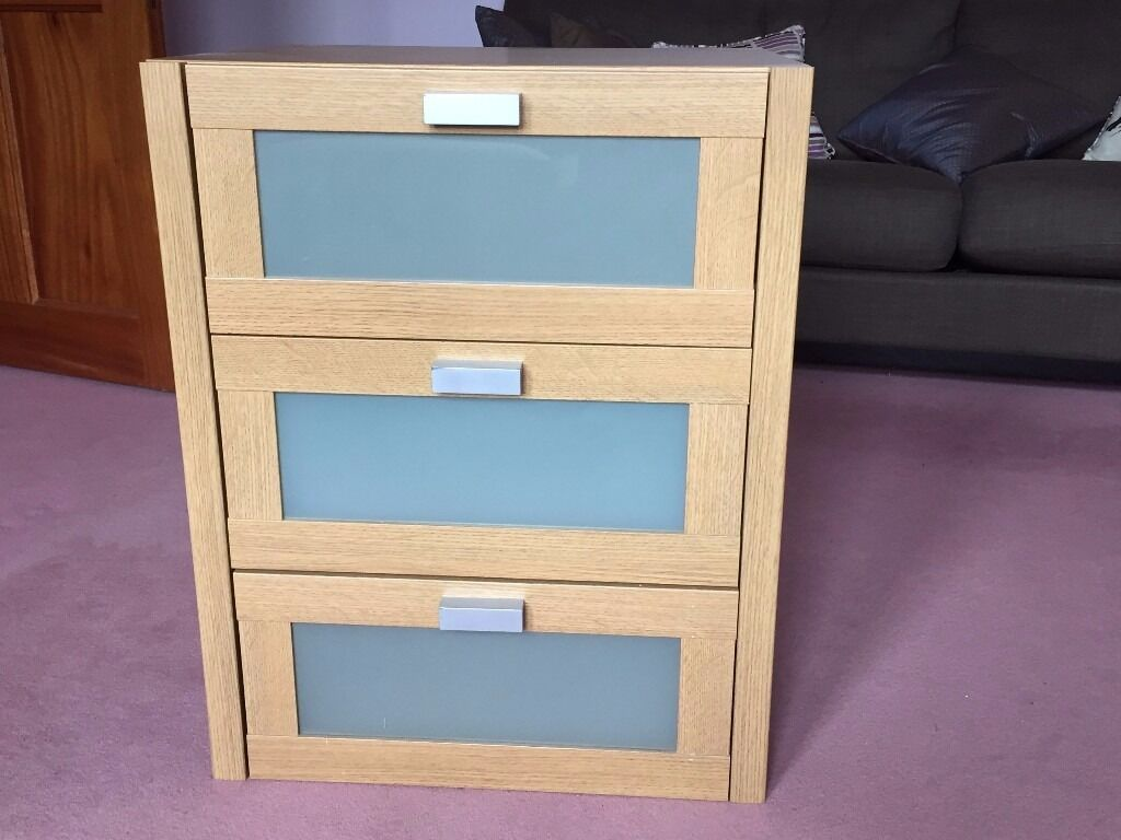 Ikea 3 Drawer Chest Light Wood Oak With Frosted Gl Fronts