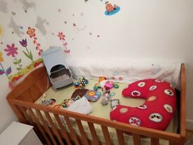 Beautiful Cot Bed,matress,bumpers,musical mobile,BabyWay Carrier,Plus, +++,