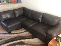 Leather corner sofa bed