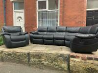 Ex Display Harvey's Black Leather Recliner Left/Right Corner Sofa+Arm Chair