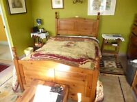 Pine 4 ft double bed , complete with 4 draws in base unit