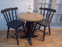 Superb Small Solid Oak Farmhouse/Bistro Table and 2 x Spindle Back Chairs. Graphite Chalk Paint.