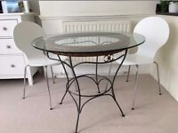 Wrought iron table with glass top - ONO