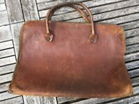 Elderly brown leather music case - FREE - COLLECTION ONLY