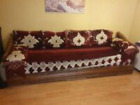 Moroccan sofa - pure solid Walnut (with orthopaedic mattress)