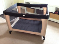 Travel cot, good condition, neutral colour, with carry bag