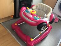 Pink car baby walker (mothercare)