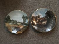"2 x John Constable plates - ""Boat Building near Flatford Mill"" & ""Valley Farm"""