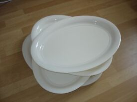 """4 x Large White Serving Plates (approx 21"""" x 15"""")."""