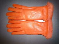 Orange Sermoneta Italian leather gloves with rabbit fur lining - Size 7 NEW
