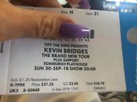 Kevin bridges ticket, Edinburgh playhouse 30th sep 2018, amazing seat, row H, 8 rows from stage!
