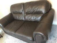 Chocolate brown leather large sofa 2 Seater