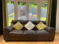 3-seater and 2-seater brown leather sofas