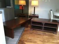 Living room furniture and table lamps