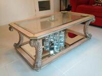 Large Glass Mirrored Coffee Table