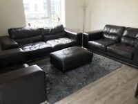 Real Leather dark brown Leather 3 piece suite with poofee used DFS collection only