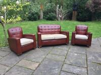 Small Art Deco Three Piece Suite - Sofa & Arm Chairs
