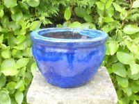 Classic Rich Blue Boulbus Ceramic Garden Planter Garden Pot 16cm tall